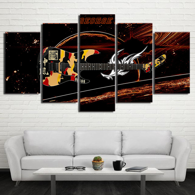 High Quality Printed Picture Modular Canvas Painting Modern Wall Art 5 Panel Fantastic  Guitar Music Instrument For Living Ideas
