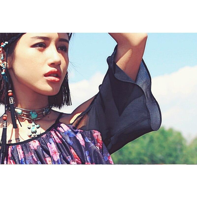 Comme Flare Lâche D'été Imprimé Aporie Irrégulière Patchwork De Floral Shirts Maille Ourlet Mousseline Soie Manches Multi Sexy Bretelles Blouse dCq7xtwHx