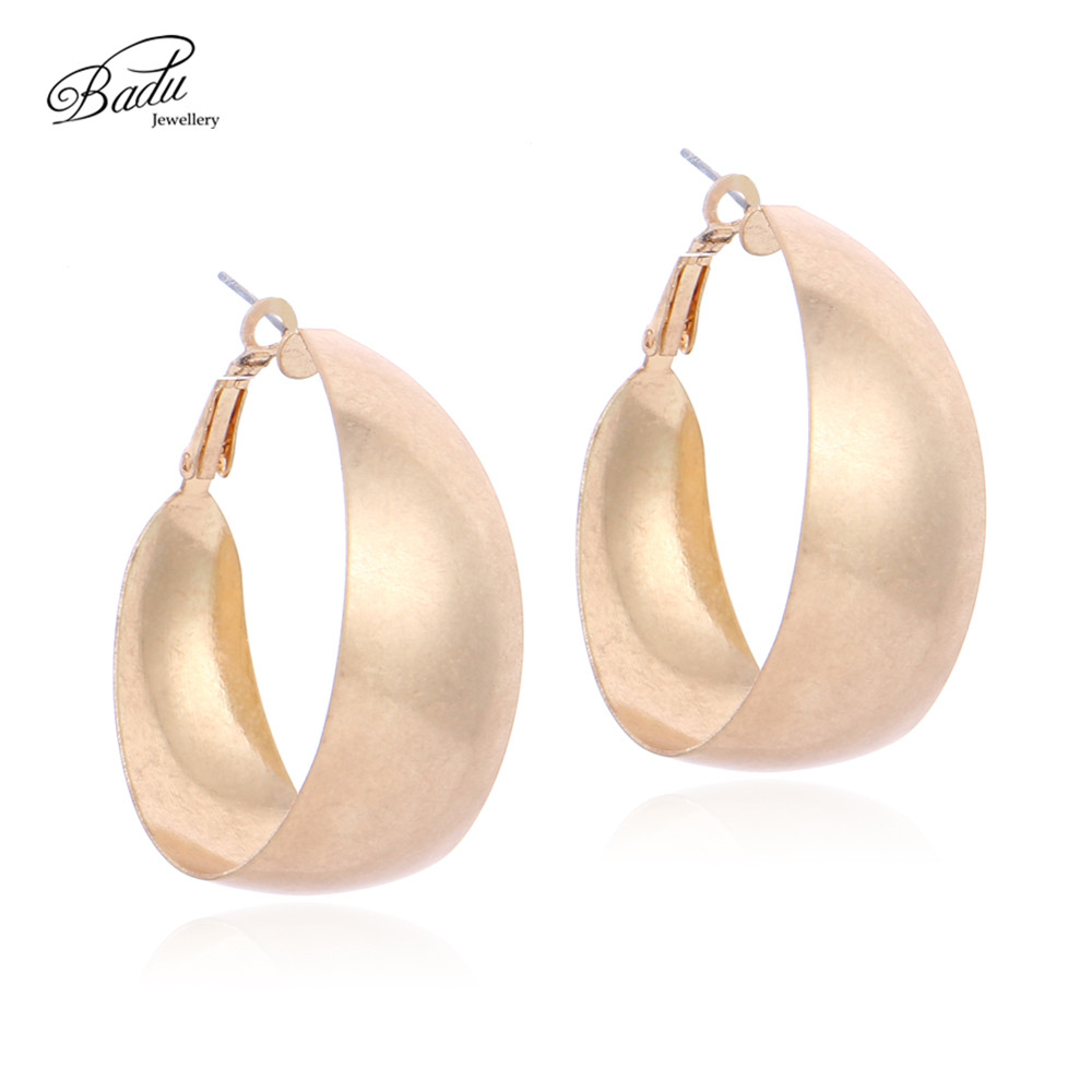 Badu Gold Hoop Earring for Women Wide Copper Punk Vintage Jewelry Exaggerated Fashion Wholesale