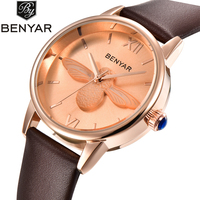 Luxury Women Watches High Quality BENYAR Fashion Casual Quartz Watch Women Leather Strap Waterproof Relojes Hombre