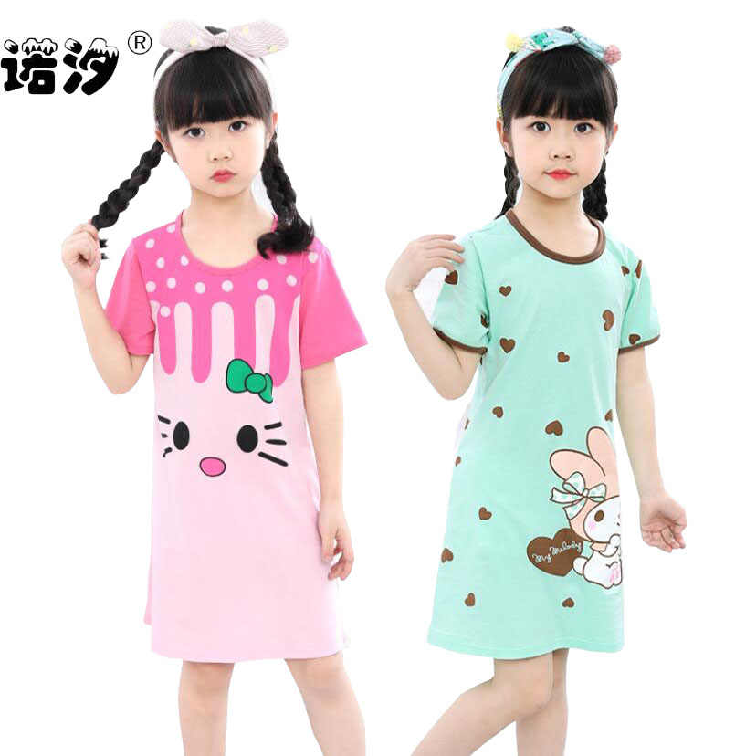 Kids Sleepwear baby girl summer cotton pajamas Children Homewear dress for girls Pyjamas childre Nightwear 2-13Y teenage clothes