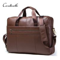 CONTACT'S Genuine Leather Male Messenger Bag For 15.6 Laptop Men's Crossbody Bags Large Business Shoulder Bag For Man Briefcase