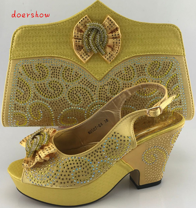 doershow African Shoes And Bags Nigeria font b Women s b font Shoes And Bag Sets