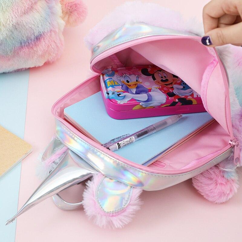 New Hologram Women Leather Backpacks Unicorn Cute Backpacks For Girls Mini Travel backpack Female Rucksack Plush Schoolbag 2019 in Backpacks from Luggage Bags