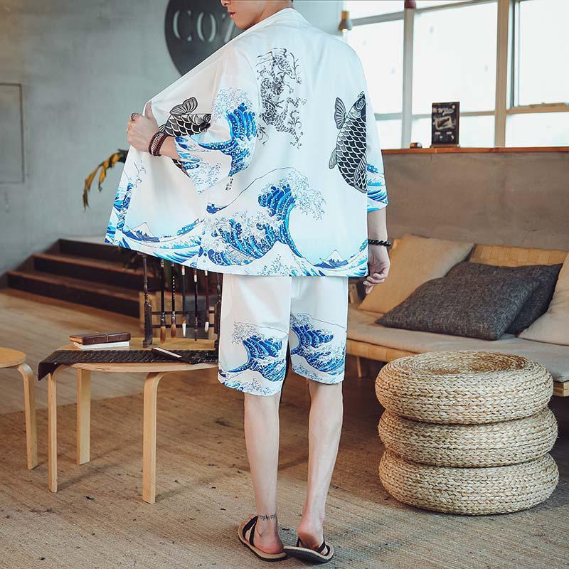 M-4XL 4 Colors 3/4 Sleeve Kimono Shirt Short Set For Men Casual Two Piece Summer Japanese Streetwear Printed 2 Peice Sets XXXXL