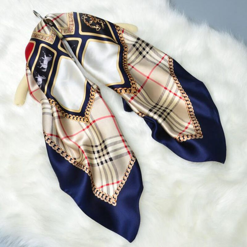 HANSCARF Plaid Printed 100% Satin Silk Scarf Women Square Silk Scarf 90*90 Fashion Scarves & Wraps Shawl Hijab Foulard