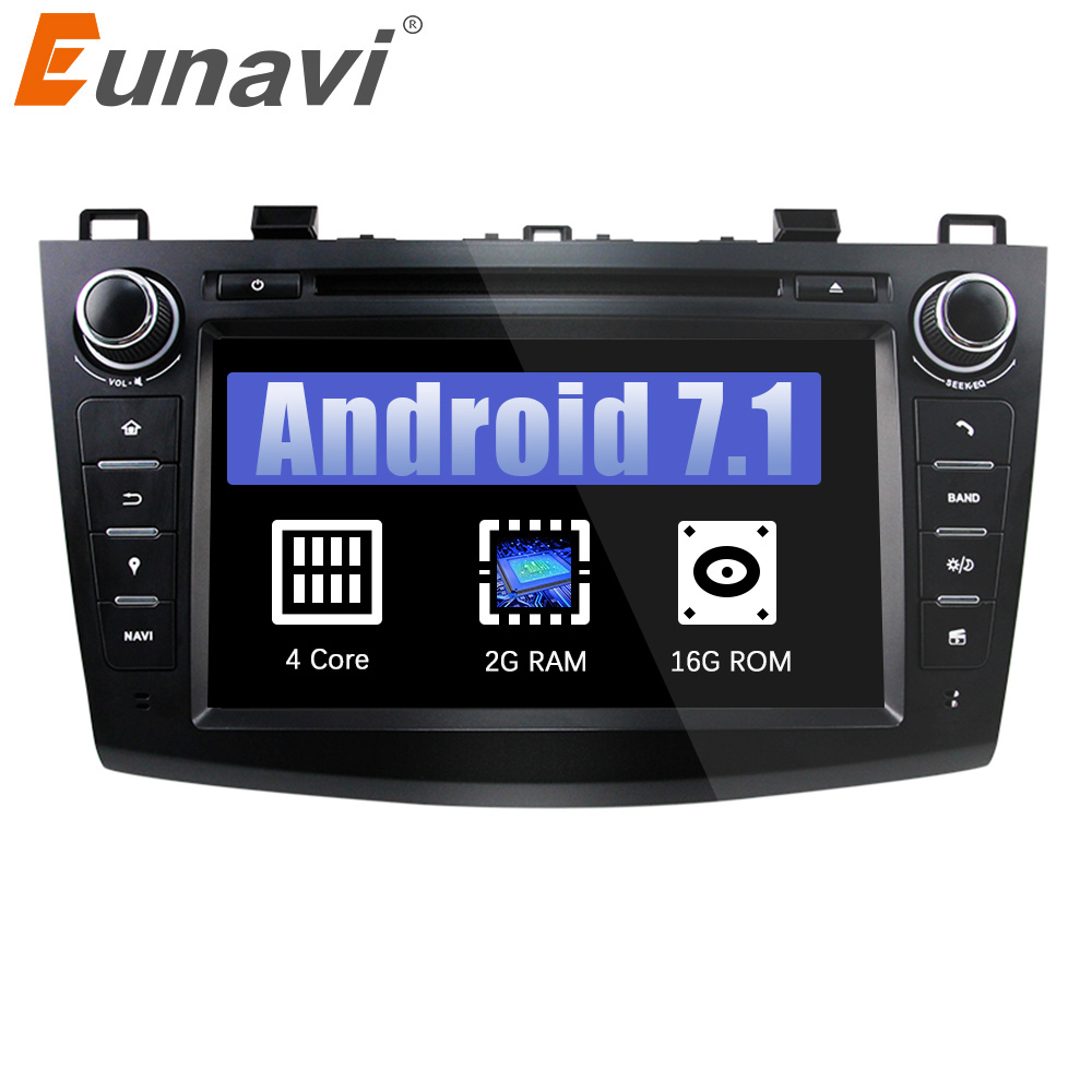 Eunavi 8 HD Screen 2 din Android 7.1 Quad Core Car DVD Player for 2010 2011 2012 2013 MAZDA 3 stereo radio GPS Navigation wifi