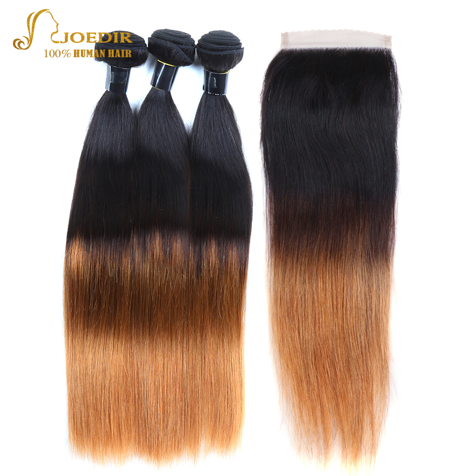 JOEDIR Hair Brazilian DEEP WAVE With Closure 4x4 T1B/4/30 Three Tone Ombre Human Hair Bundles With Closure Hair Extensions