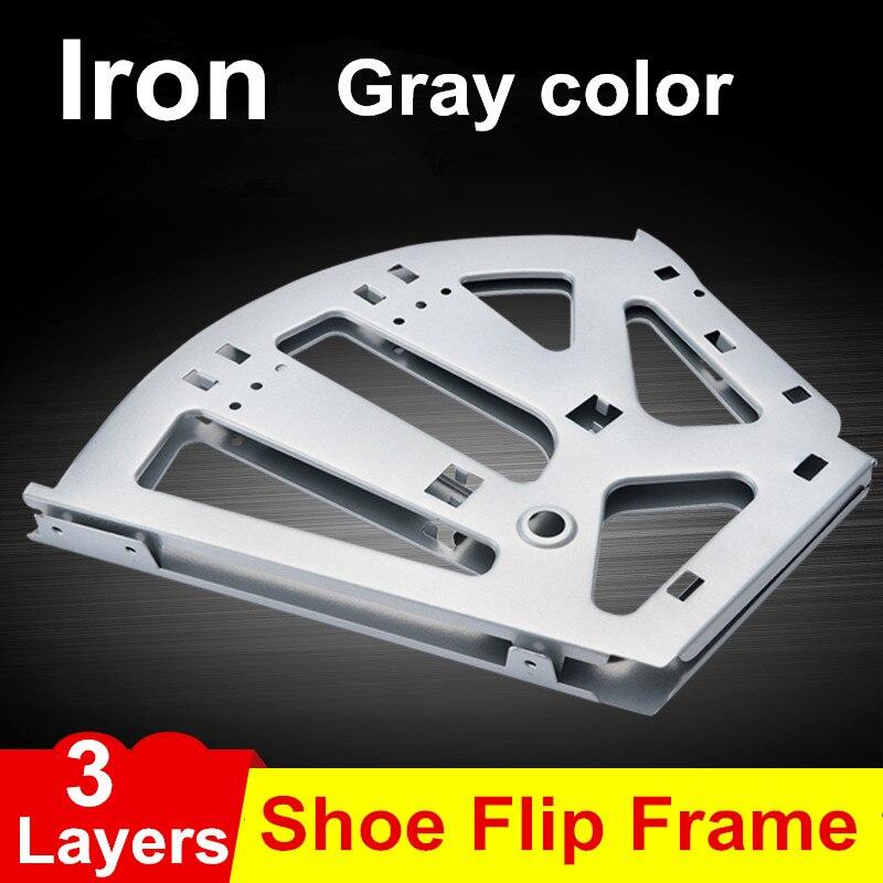 1 пара железный шкаф для обуви Флип Рамки 3 слоя вариант Серый цвет Скрытая шарнир