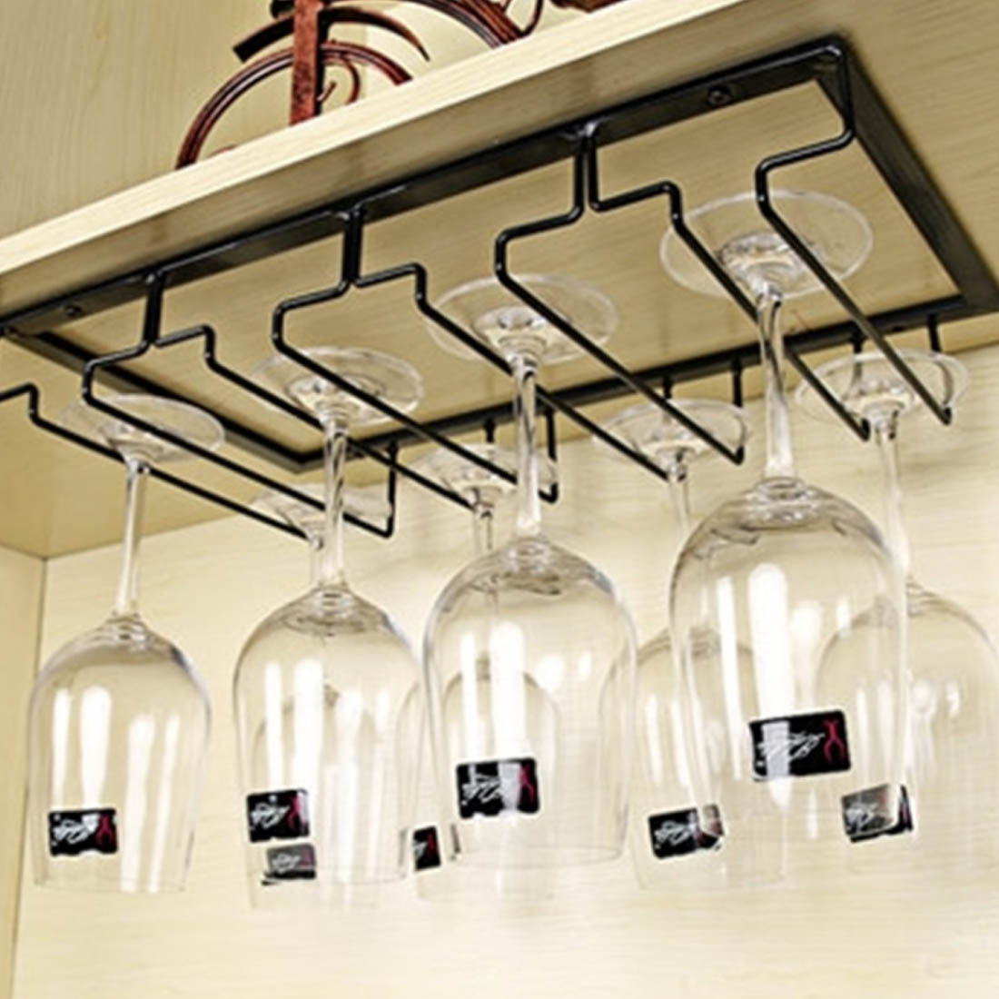 4 Rows / 3 Rows Hanging Wine Cup Rack Glass Cups Holder Metal Iron Craft Steamware Decor Kitchen Storage Racks Holders