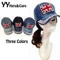 A estrenar de moda jean gorras de béisbol Denim sombreros del Snapback mujer con diamantes de imitación de la bandera sombreros hombre ocasional del sol sombreros Gorro YY005-1