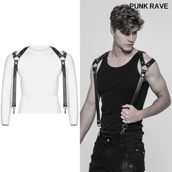Punk rock Pants Shoulder Strap accessories Classic black thick hard PU leather metal hooks cool men suspenders punk rave S-272