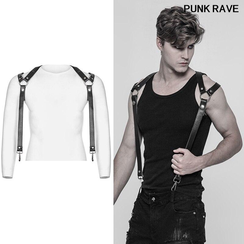 Punk rock pantalon bandoulière accessoires classique noir épais dur PU cuir métal crochets cool hommes bretelles punk rave S-272