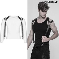 Punk rock pantalones correa de hombro accesorios clásico negro grueso cuero duro de la PU ganchos de metal fresco hombres tirantes punk rave S-272