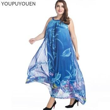 9398f98e7e90d02 YOUPUYOUEN богемный шифон длинное платье 5xl 6xl 7xl плюс размеры Лето  повседневное цветочные свободные пляжные макси платья для женщин Boho одежда