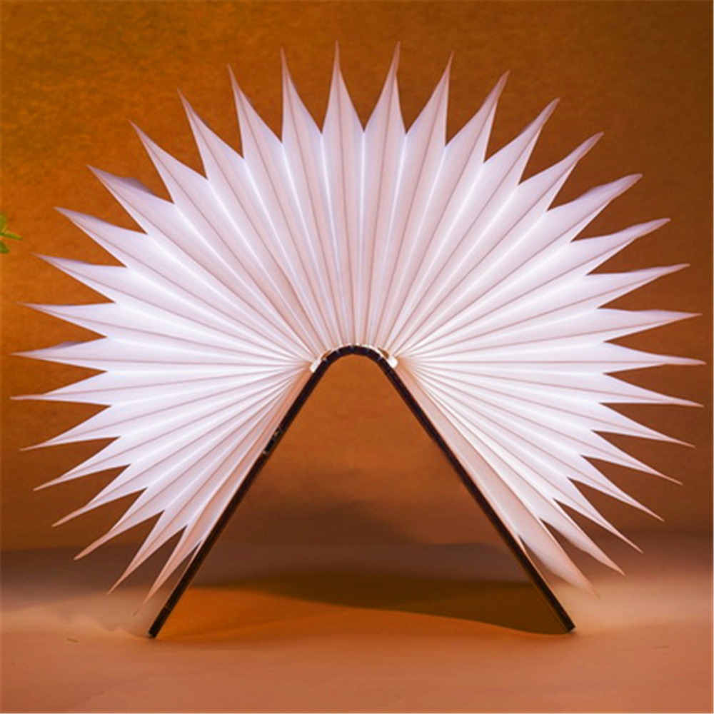 Creative Wooden Foldable Pages Led Book Shape Night Lighting Lamp Portable book lights Usb Rechargeable new arrival rgb folding notebook led light 5 colors creative gifts 5v usb rechargeable book lamp eye protecting night lights