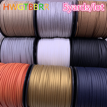 New 5yards/lot 3mm Flat Faux Suede Braided Cord Korean Velvet Leather Handmade Beading Bracelet Jewelry Making String Rope cross layered faux leather bracelet