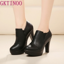 genuine leather high heels deep mouth single shoes platform women's pumps spring and autumn