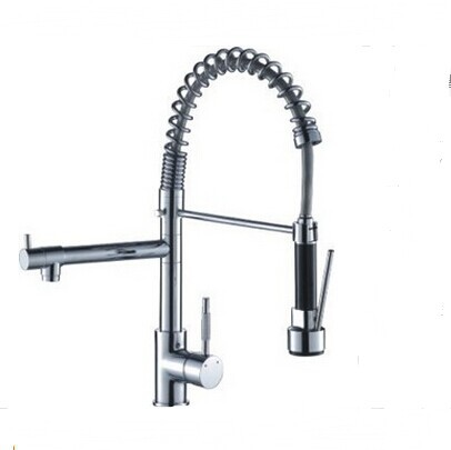 Single lever Kitchen faucet pull out Swivel Spout Vessel Sink Mixer Tap kitchen mixer with spray pull out hand shower sink taps golden brass kitchen faucet dual handles vessel sink mixer tap swivel spout w pure water tap