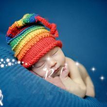 Новинка; детская шапка; Разноцветные радужные вязаные шапки для девочек и мальчиков; зимняя шапка ручной работы; вязаный костюм; реквизит для фотосъемки новорожденных