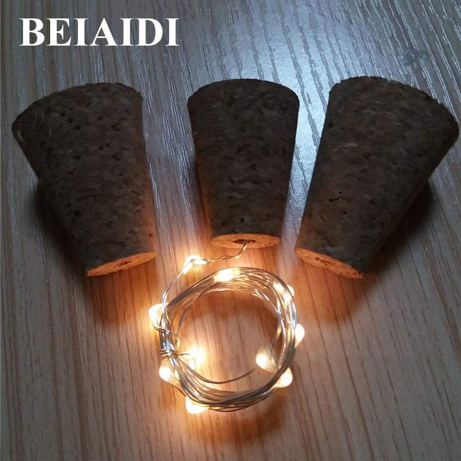 Beiaidi 20 шт. 10 светодиодов бутылки вина Корк Медь проволоки свет строка Батарея полосы света Декор веревка лампы для Рождество свадебная вечер…