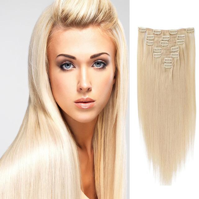 70G 120G 220G Clip En Extensiones Light Blonde #24 6A Brasileño Pinza de Pelo virgen En Extensiones Del Pelo Humano Recto Del Pelo Clip En