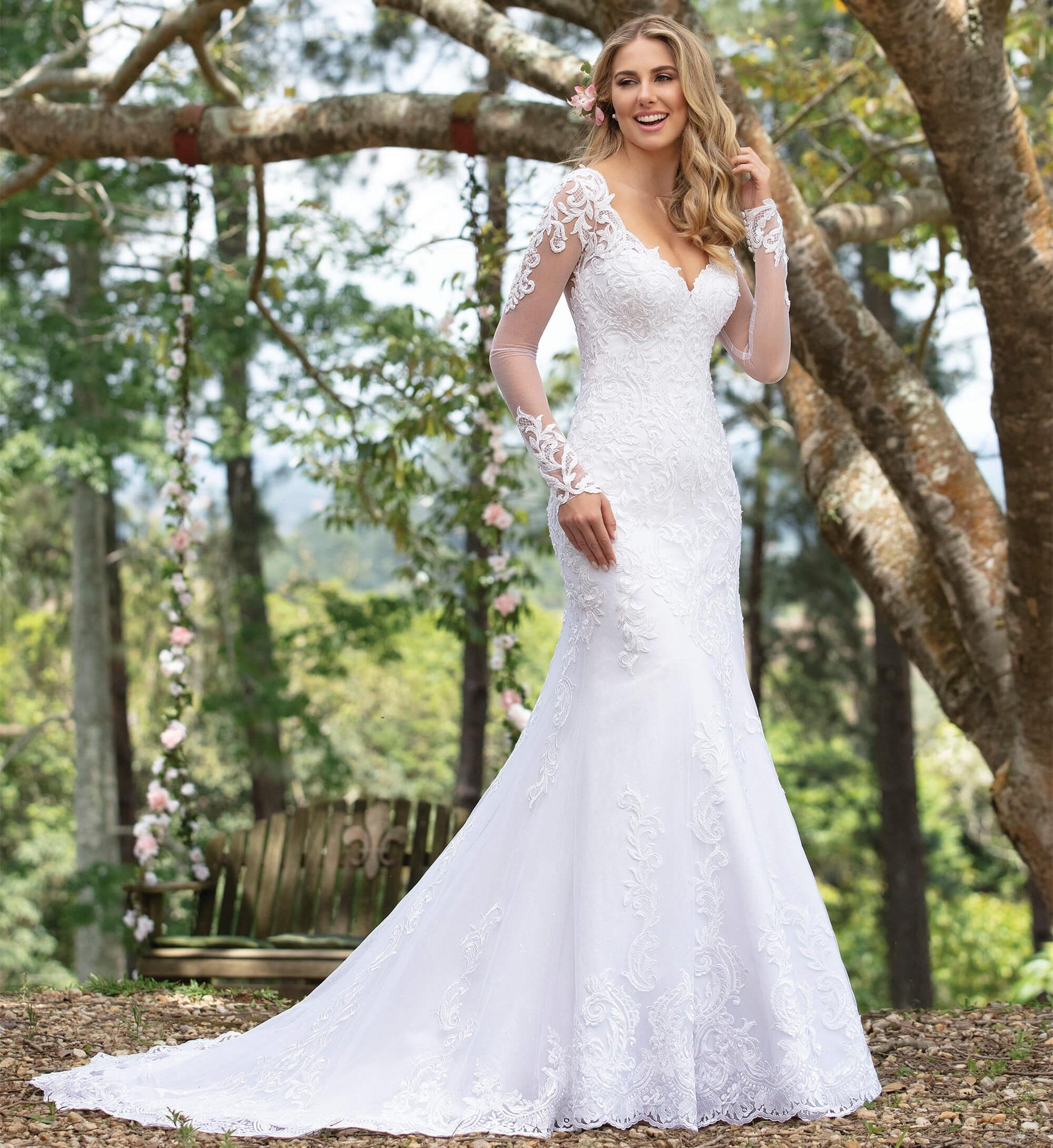 Custom Made Mermaid Long Sleeve Tulle Lace Beading Sequins Crystal Sexy Luxury Wedding Dresses Bride Dress