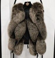 2018 натуральный мех лисы Жилет новая мода уличная толстые теплые v образным вырезом пальто темно куртка женщин основной пальто 100% натуральны