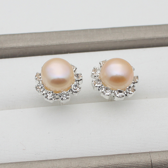 Wholesale Fashion 925 Silver Needle Fine Jewelry Crystal Earrings Natural Freshwater Pearl Stud Earrings For Women Party
