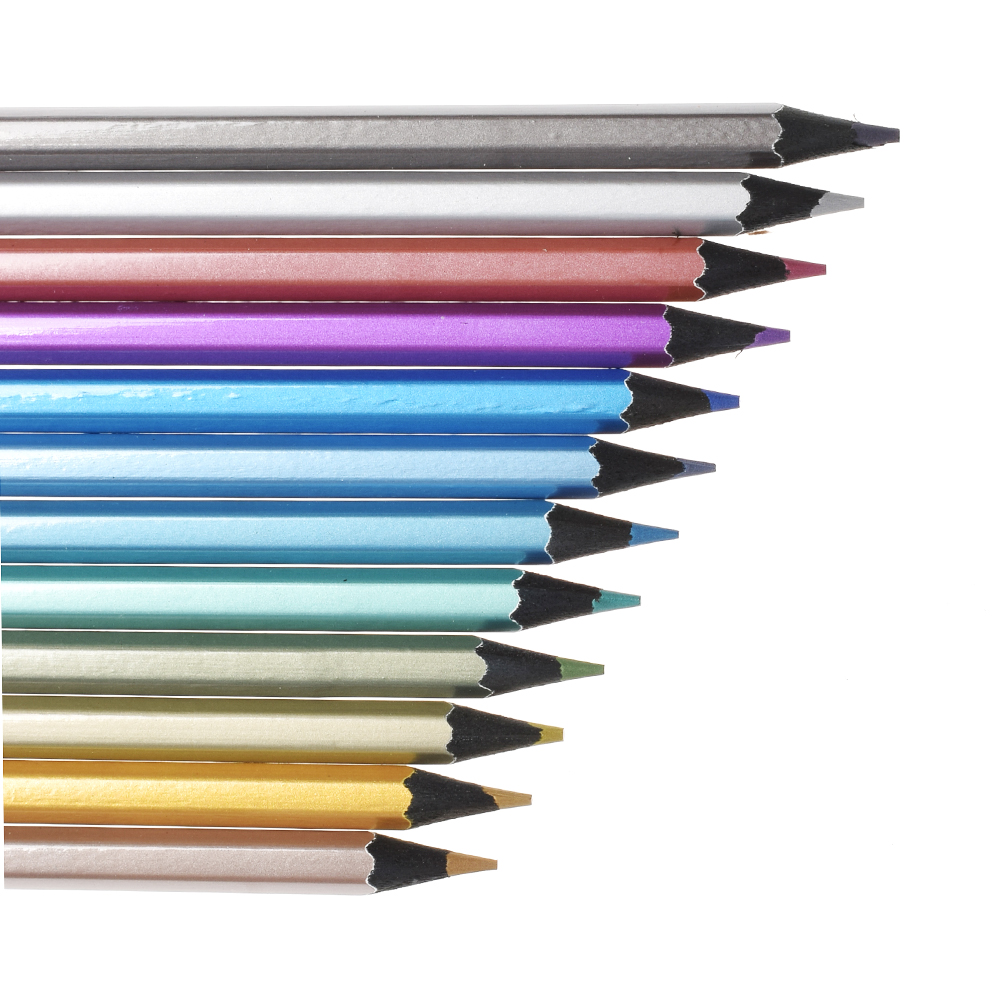12pcs Metallic Non-toxic Drawing Pencils Drawing Sketching Finest Wax Color Crayon 12 Colors Drawing Pastel Wholesale