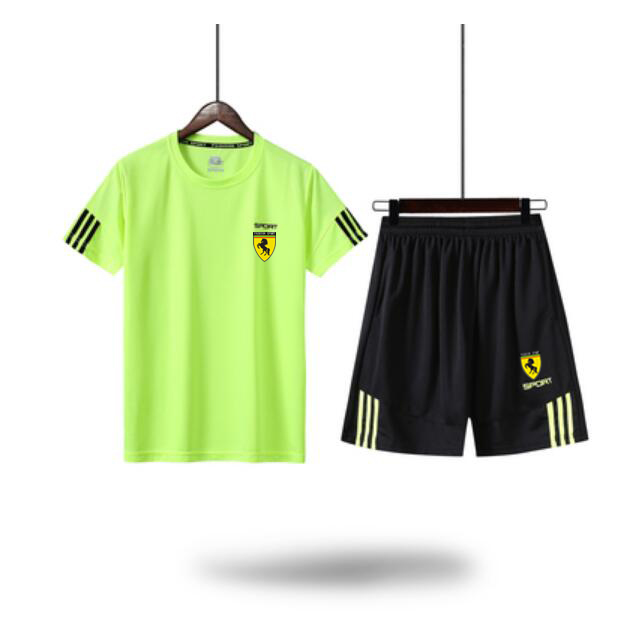Men Summer Short Sleeve Gym Football T Shirt Top Tee Sport TrackSuit Suit Pants Shorts Train Active