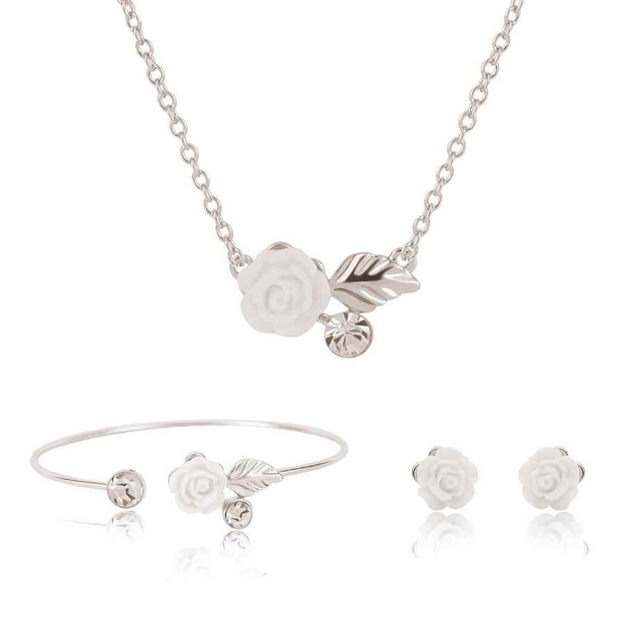 HC Fashion Silver Flower Necklace Sets Women Femme Jewelry Sets Cute Left Small Earrings Bangles Jewelry Set for Kids Children T