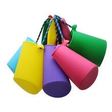 6 цветов, Пляжное ведро, силиконовое складное ручное бочонок, игрушка для душа для маленьких детей, игрушка для ванны, песок, игрушка для воды
