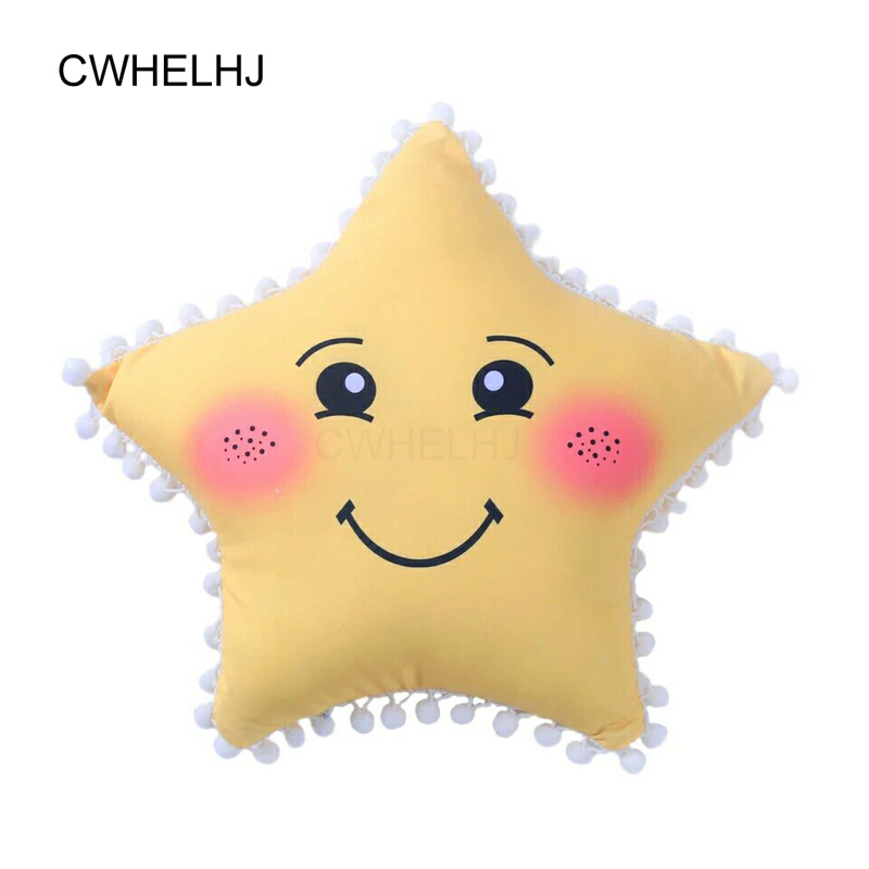 1pc Cartoon Star / Moon / Smilende ansikt Barn Sleep Pute Sjarme Clouds Eyelash Kids Room Decoration Plysj Puteputer Balls