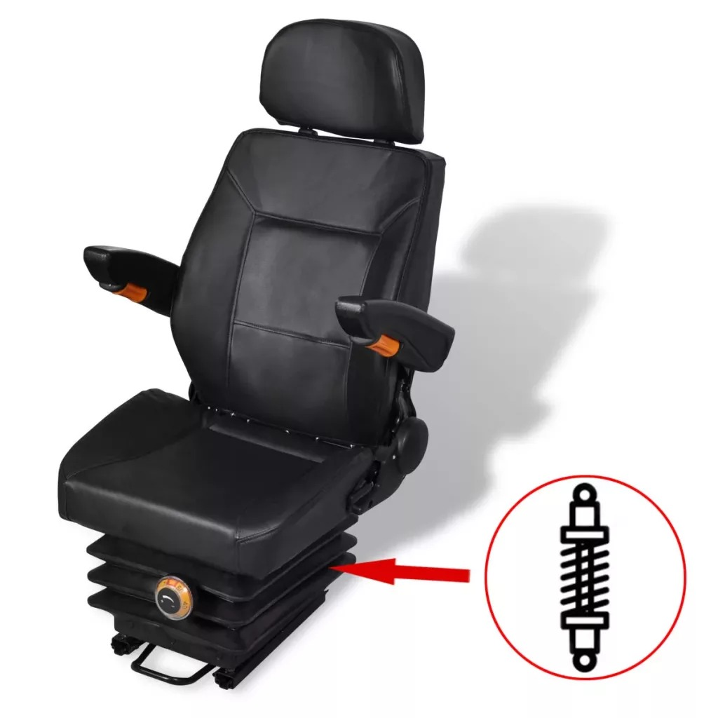 VidaXL Tractor Seat With Suspension Backrest Adjustment Tractor Seat With Foldable Headrest And Armrest Flexible Installation