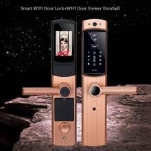 Smart Cerradura WIFI Door Lock Video Peephole Door Camera Fingerprint Password Electronic Lock Viewer Doorbell Remote APP Unlock