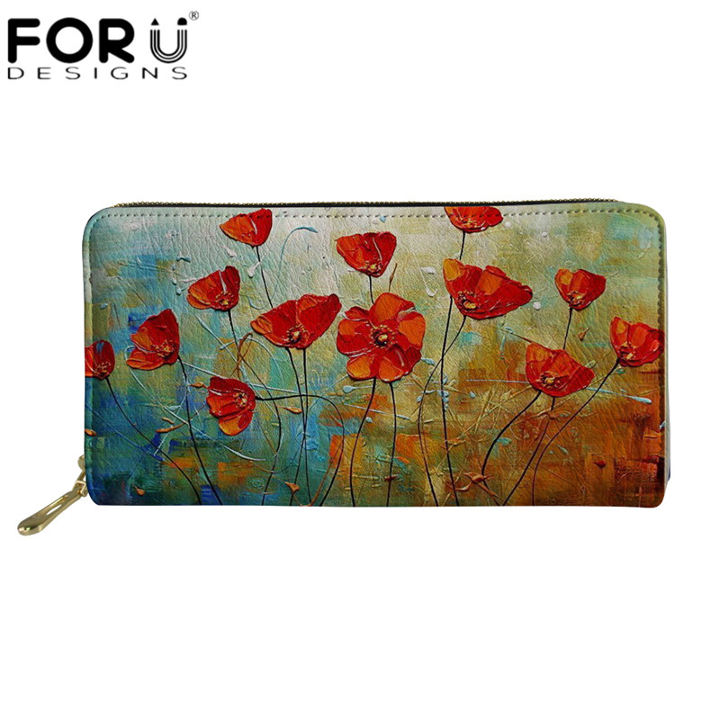 FORUDESIGNS Zipper Purse Colorful Flowers Floral 3D Printed Wallet Women Long Clutch Wallets Waterproof Leather Money Pouch Bags