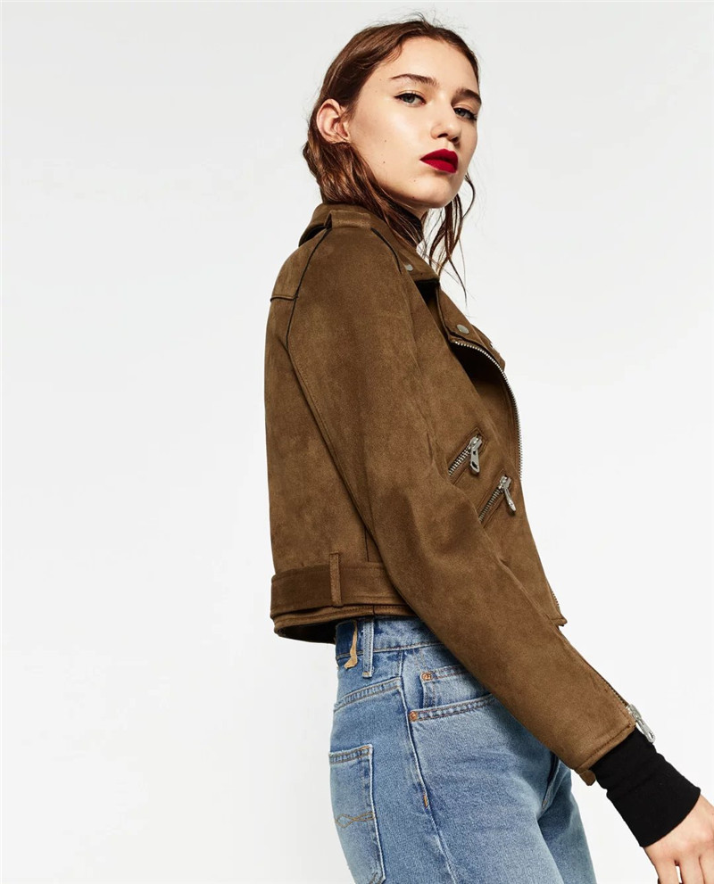 Women Basic Coats 2017 Streetwear Spring Solid Lapel Zippers Sashes Suede Motorcycle Fashion Faux Leather Jacket XS~L