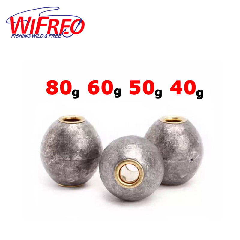 Fishing Weights 30g 40g 50g 60g 80g Lead and Copper Rounded Long Casting Rock Debris Fishing Sinkers