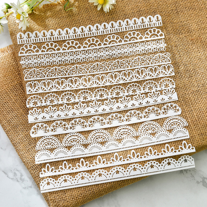 KSCRAFT 12pcs White Lace Edge Papers For DIY Scrapbooking/Card Making/Kids Fun Decoration Supplies
