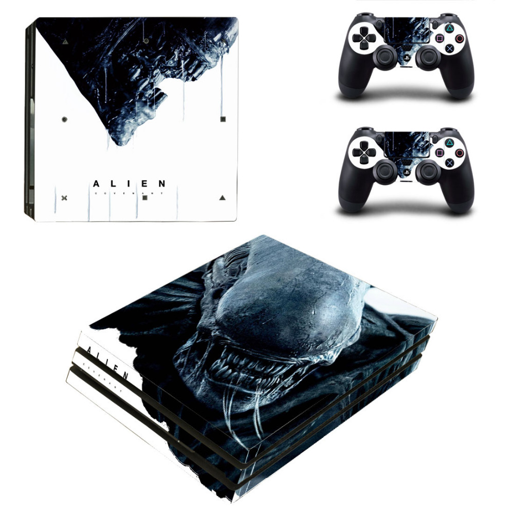 Alien PS4 Pro Skin Sticker Decal for Sony PlayStation 4 Console and 2 Controller PS4 Pro Skin Sticker Vinyl