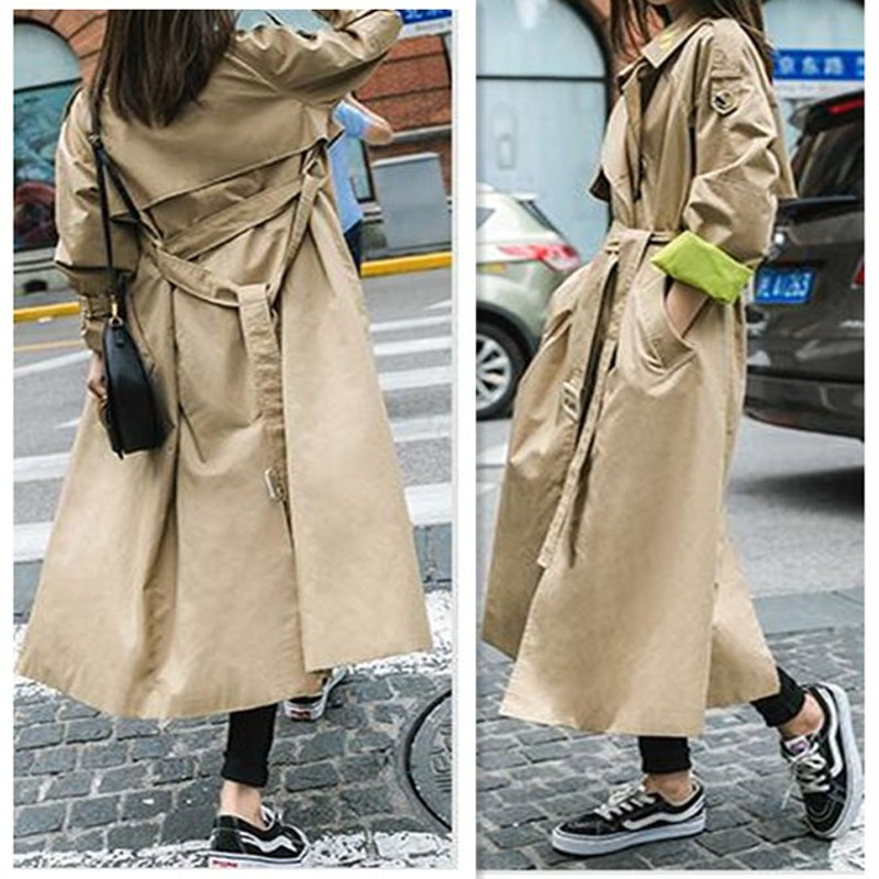 UK Brand New Runway Fashion 2019 Fall /Autumn Women Casual Simple Solid Embroidery Trench Coat With Belt Casaco Feminino