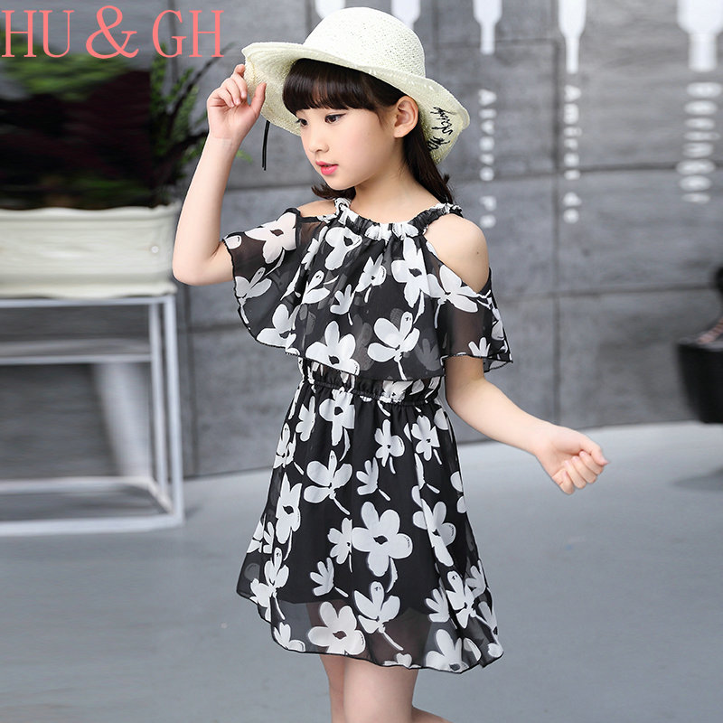 girls dress summer 2017 small beauty new in Europe and the United States dress in the large children 13years old