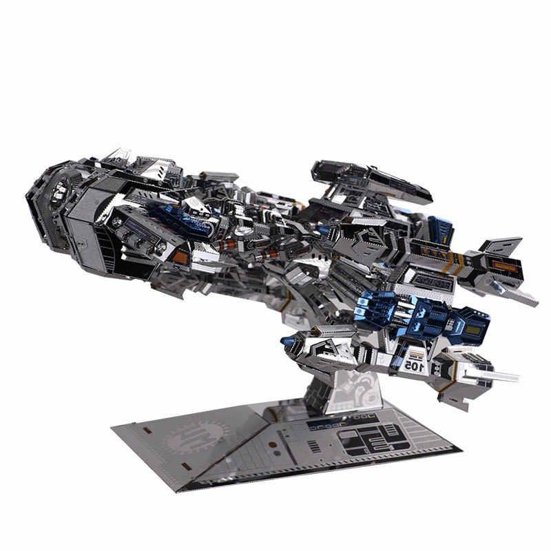 Mu 3d logam puzzle bintang kerajinan warnawarni ym-n015-bs battlecruiser model diy 3d laser cut jigsaw merakit mainan untuk audit