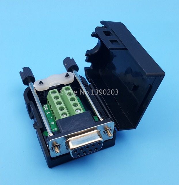 D-SUB DB9 Female 9Pin Plug Breakout Board Terminals Connector Screw Type Black Plastic Cover