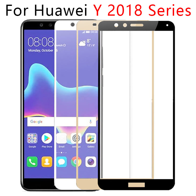 <font><b>Case</b></font> On For <font><b>Huawei</b></font> Y5 Y6 Y7 Prime <font><b>2018</b></font> Y9 Full Cover Tempered Glass Screen Protector Phone <font><b>Y</b></font> 5 6 7 <font><b>9</b></font> Y52018 Y62018 Tremp Safety image