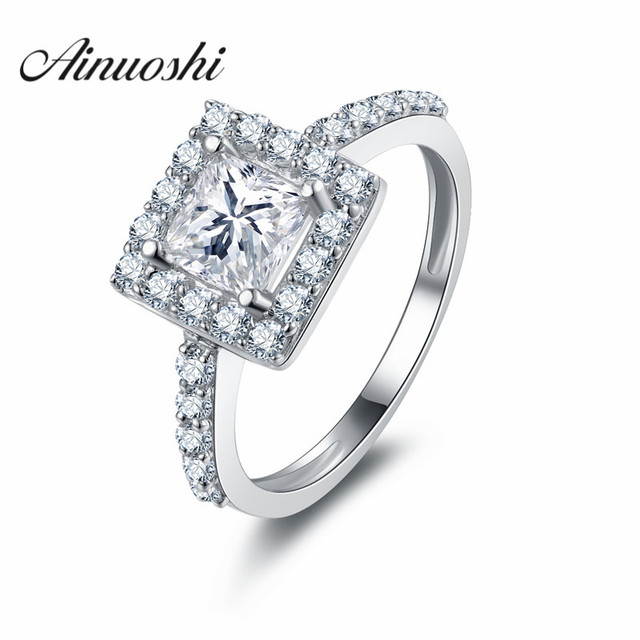 1 Carat Princess Cut Rings Brand Design High Quality 925 Sterling