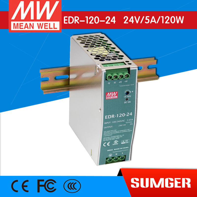 ФОТО [Freeshiping 2Pcs] MEAN WELL original EDR-120-24 24V 5A meanwell EDR-120 24V 120W Single Output Industrial DIN RAIL