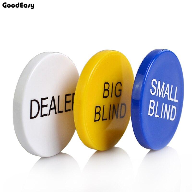 HOT SALE 3PCS/SET Melamine Round Dealer Chip Texas Poker Chip Sets SMALL BLIND/BIG BLIND/DEALER Pokerstar Plastic Coins Buttons