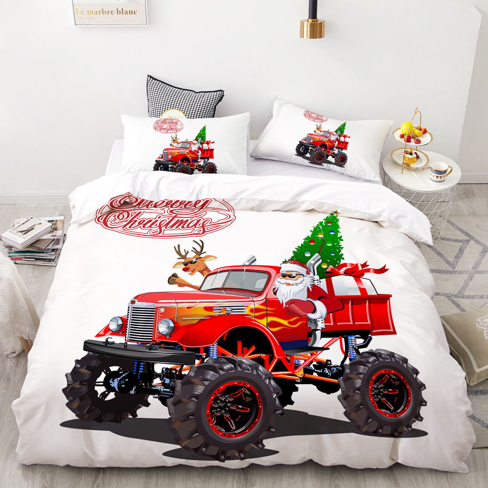 100% QualitäT 3d Hd Digitaldruck Individuelle Betten Set, Cartoon Bettbezug-set Kinder Baby Kinder, Weihnachten Santa Claus Rot Auto Geschenk